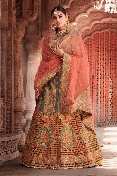 Grey Silk Embroidered Lehenga Choli (NWG-698)