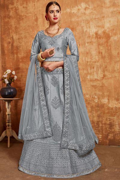 Grey Silk Lehenga Choli (NWG-397)