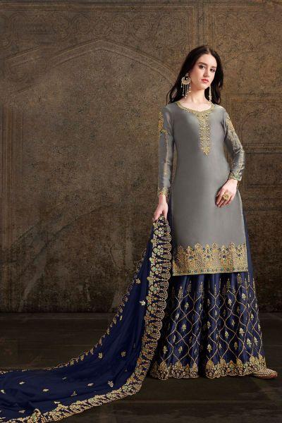 Grey Soft Satin Salwar Suit (NWS-4893)