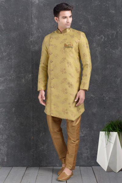 Lemon Yellow Jaquard Silk Brocade Indo Western Kurta (NMK-5009)
