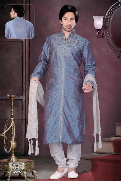 Light Blue 2 Toned Art Dupion Silk Kurta Pajama (NMK-1560)