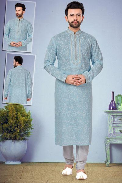 Light Blue Printed Cotton Silk Mens Kurta (NMK-4854)