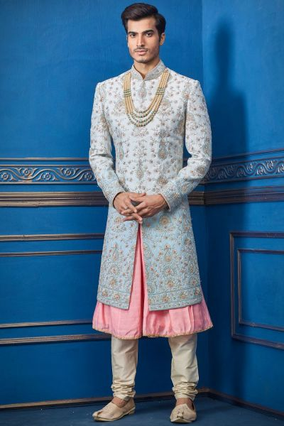 Light Blue Pure Silk Sherwani with Anarkali Kurta (NMK-4736)