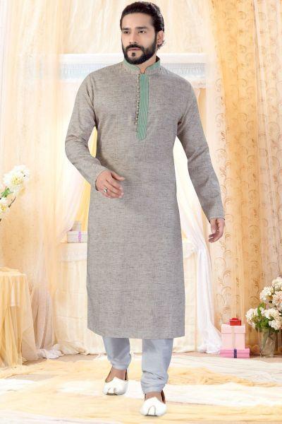 Light Brown Cotton Linen Kurta Pajama (NMK-4247)