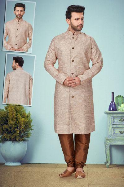 Light Brown Cotton Silk Kurta Pajama (NMK-5089)
