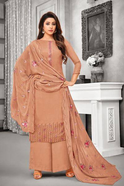 Light Brown Silk Salwar Kameez (NWS-5055)
