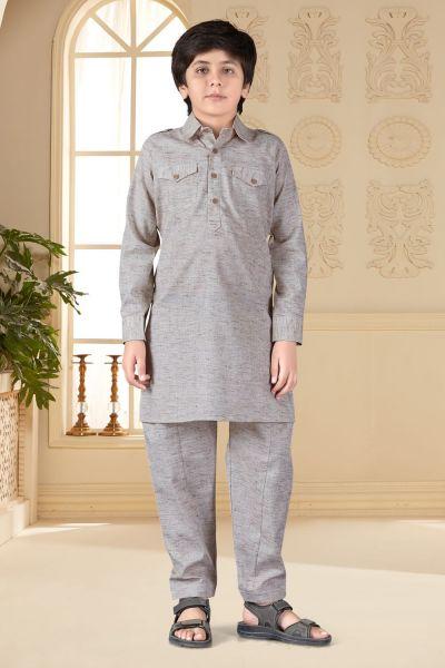 Light Coffee Cotton Silk Kids Pathani Suit (NKK-662)