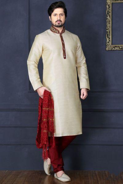 Light Gold Art Banarasi Silk Designer Kurta Pajama (NMK-3687)
