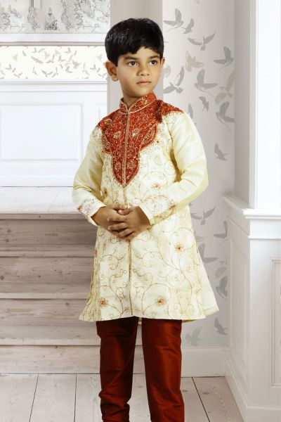 Light Gold Art Dupion Boys Sherwani (NKK-126)