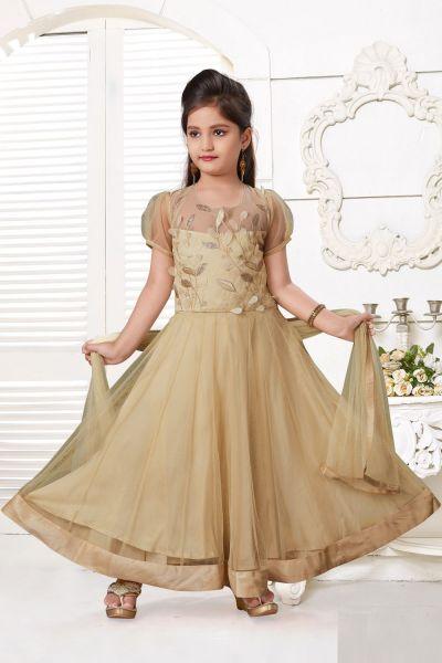Light Gold Net Girls Salwar Kameez (NFG-215)