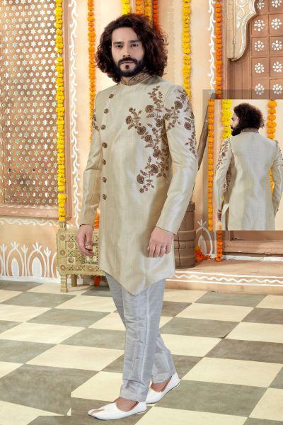 Light Gold Silk Sherwani (NMK-4349)