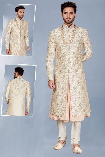 Light Gold Silk Sherwani with Anarkali Kurta (NMK-5115)