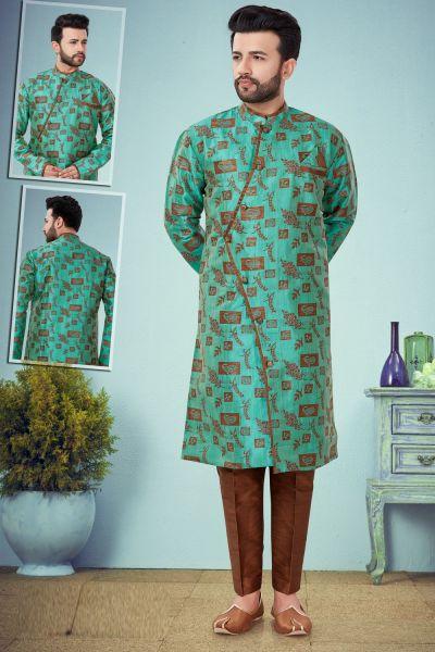 Light Green Banarasi Jaquard Kurta Pajama (NMK-4862)