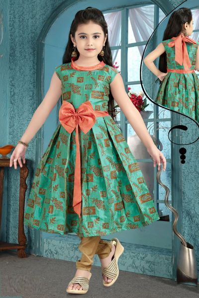 Light Green Brocade Girls Anarkali Dress (NFG-199)
