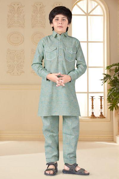 Light Green Cotton Silk Kids Pathani Suit (NKK-661)