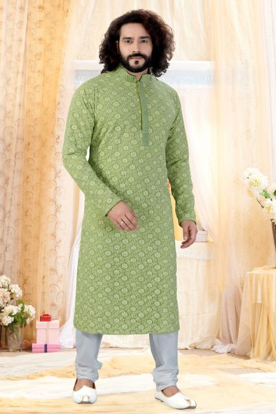 Light Green Georgette Lucknowi Kurta Pajama (NMK-4260)