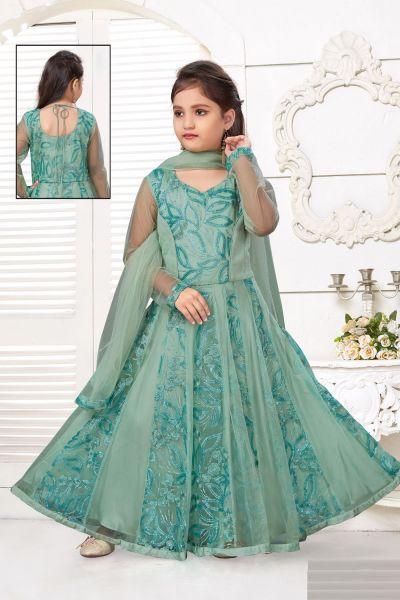 Light Green Net Girls Salwar Kameez (NFG-225)