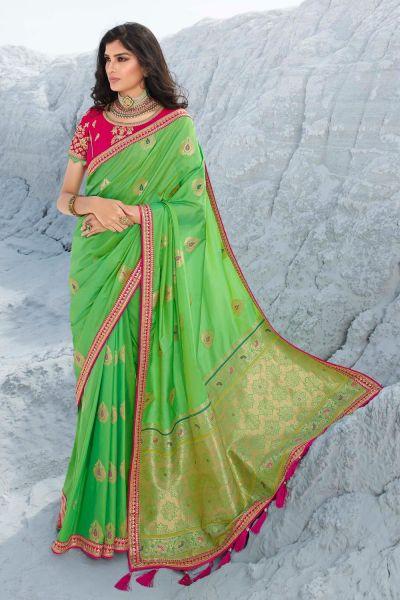 Light Green Silk Saree (NWSA-5054)