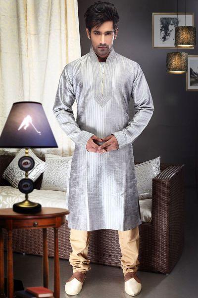 Light Grey Art Dupion Kurta Pajama (NMK-1469)
