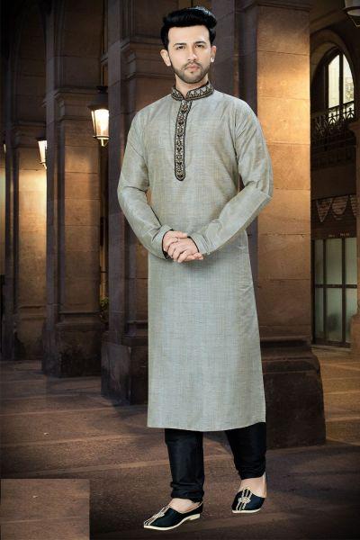 Light Grey Banglori Silk Designer Kurta Pajama (NMK-3773)