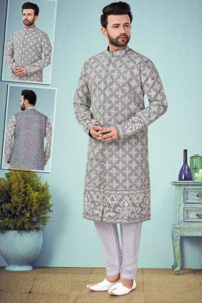 Light Grey Cotton Silk Kurta Pajama (NMK-4867)