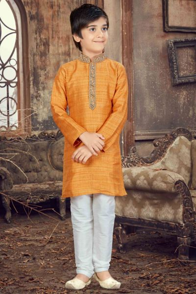Light Mango Banglori Silk Kids Kurta Pajama (NKK-626)