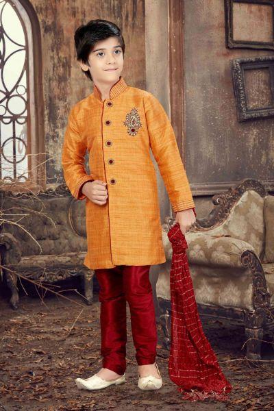 Light Orange Banglori Silk Kids Kurta Pajama (NKK-604)