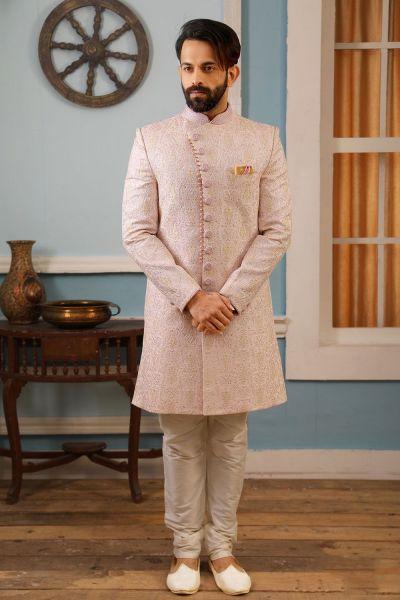 Light Pink Art Banarasi Silk Indo Western (NMK-4176)