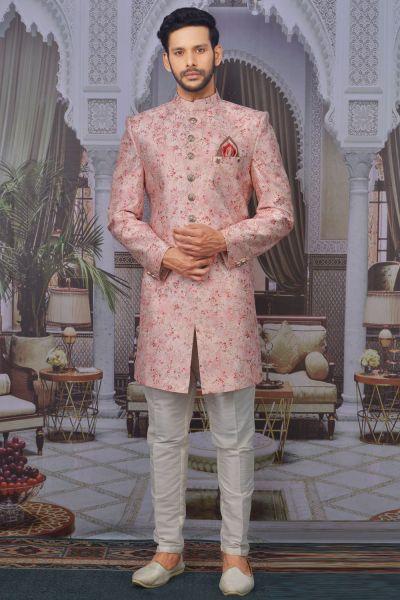 Light Pink Art Banarasi Silk Indo Western (NMK-4760)