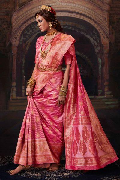 Light Pink Banarasi Silk Saree (NWSA-5175)