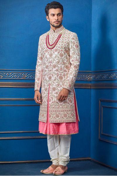 Light Pink Pure Silk Sherwani with Anarkali Kurta (NMK-4704)