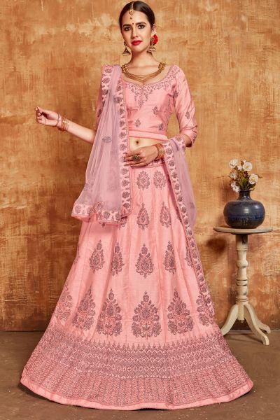 Light Pink Silk Lehenga Choli (NWG-394)