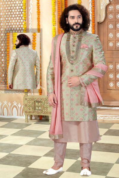 Light Pista Banarasi Silk Sherwani (NMK-4305)