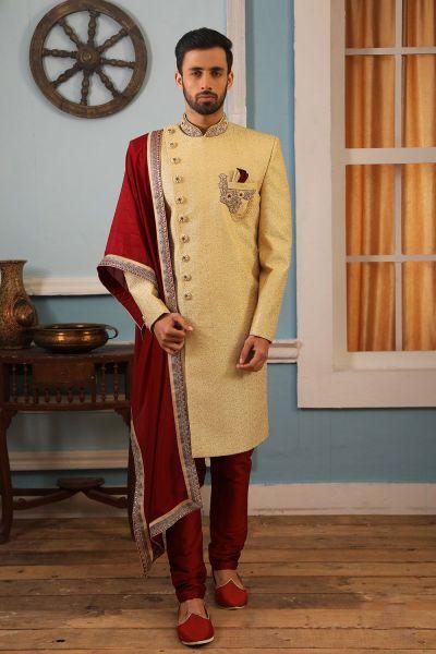Light Yellow Art Banarasi Silk Indo Western (NMK-4170)