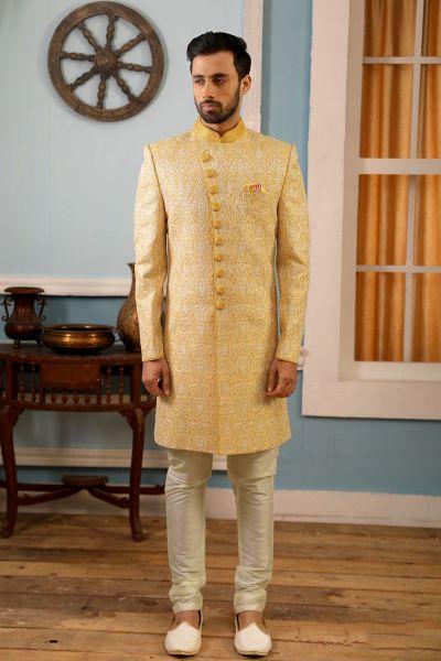 Light Yellow Art Banarasi Silk Indo Western (NMK-4178)