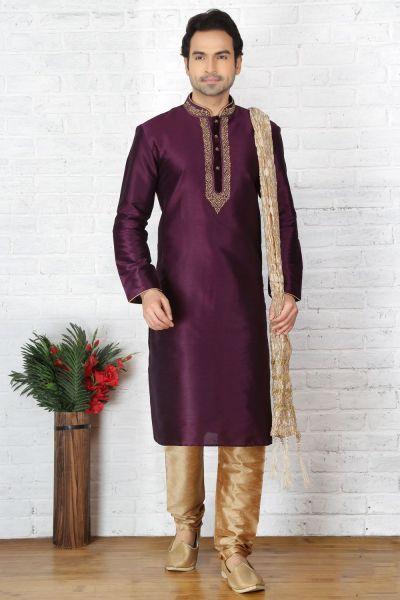Magenta Dupion Art Silk Casual Kurta Pajama (NMK-3699)