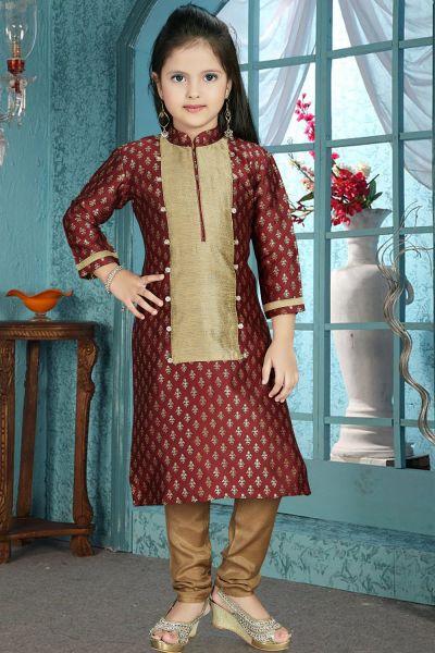 Maroon, Antique Jaquard Girls Salwar Kameez (NFG-211)