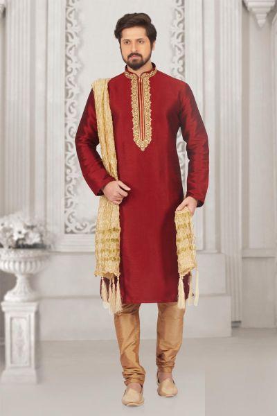 Maroon Art Banarasi Silk Casual Kurta Pajama (NMK-3994)