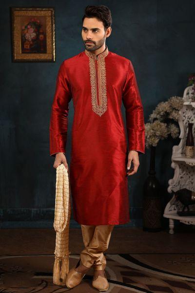 Maroon Art Banarasi Silk Festive Kurta Pajama (NMK-4402)