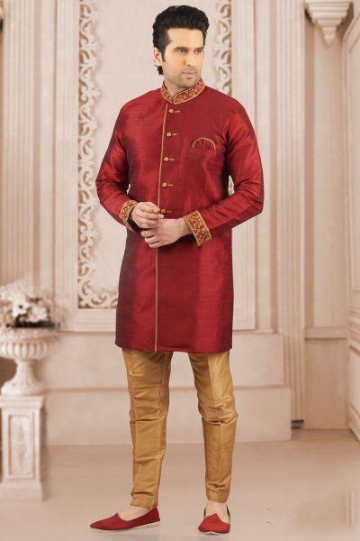 Maroon Art Banarasi Silk Indo Western Kurta (NMK-4050)