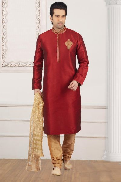 Maroon Art Banarasi Silk Kurta Pajama (NMK-3981)