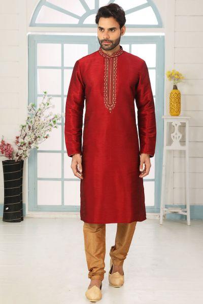 Maroon Art Banarasi Silk Kurta Pajama (NMK-5065)