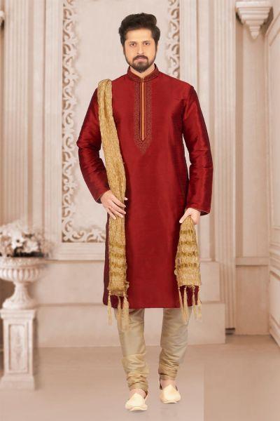 Maroon Art Banarasi Silk Mens Kurta Pajama (NMK-3996)