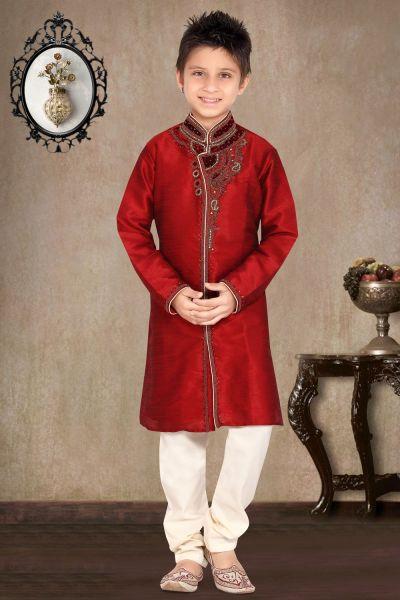 Maroon Art Dupion Boys Sherwani (NKK-464)