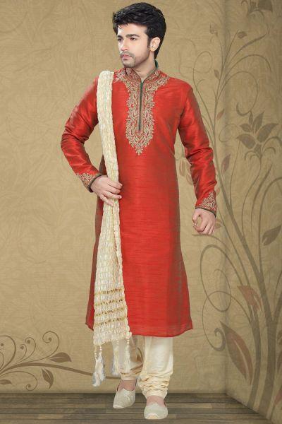 Maroon Art Silk Designer Kurta Pajama (NMK-2272)