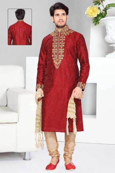 Maroon Art Silk Designer Kurta Pajama (NMK-2299)