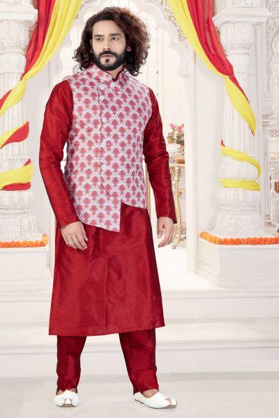 Maroon Art Silk Jacket Style Kurta for Men (NMK-4272)