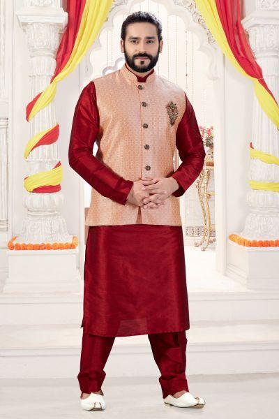 Maroon Art Silk Jacket Style Kurta Pajama (NMK-4265)