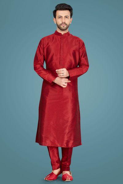 Maroon Art Silk Kurta Pajama (NMK-5142)