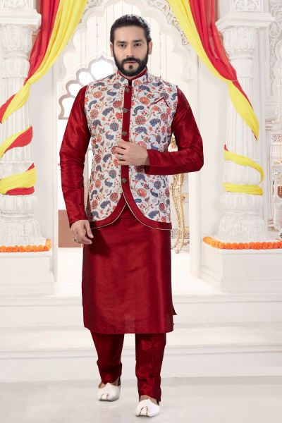 Maroon Art Silk Printed Jacket Style Kurta (NMK-4268)